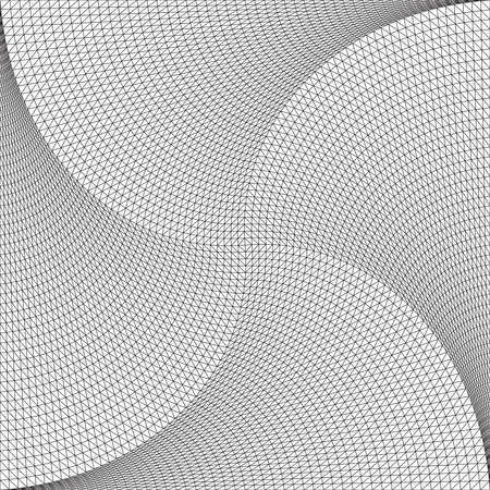 Abstract geometric background of polygons. Twisting lines in the center. Symmetrical vector illustration.