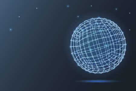 sphere of atoms. 3D vector illustration on blue background. geometry. flight. molecule. Ilustração