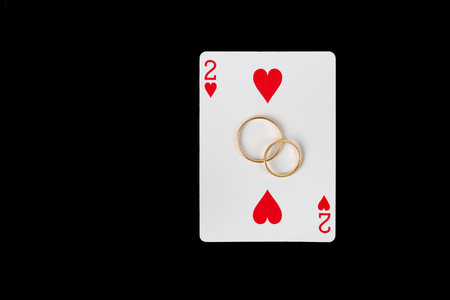 Card Two Hearts with Wedding Rings