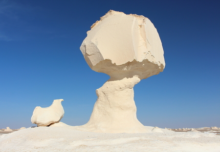 Limestone formation rocks known as The mushroom and the chicken in the White Desert Natural Park, close to Farafra oasis, Egypt.