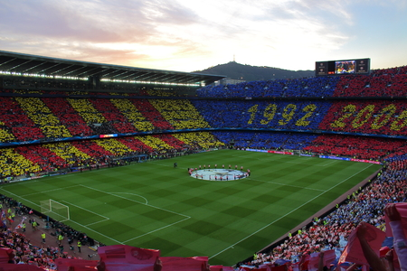 futbol: Nou Camp, Barcelona, Spain - April 6th of 2015: View of Futbol Club Barcelonas stadium during the Champions League Semi-final game between F.C. Barcelona and F.C. Bayern Munich that ended 3-0. Editorial