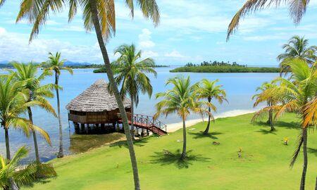 lodges: Main view of Yandup Island lodges private cabins, Yandup Island lodge, kuna indians territory, San Blas, Panama.