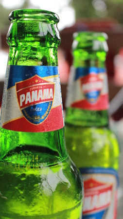 distributed: Boquete, Panama - August, 8, 2014: Beer Panama is the strongest marketer, with t-shirts and other merchandise bearing its name seen around the Americas. It is distributed in some parts of the world by Royal Imports, LLC. Editorial