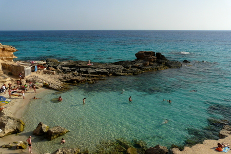 cal: Es cal des mort beach in Formentera, Balearic Islands, Spain.