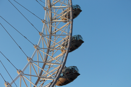 third wheel: London Eye in Waterloo, London - February 15th of 2015: This is the third largest ferris wheel all around the world. This tourist attraction is 135 meters tall with a diameter of 120 metres.