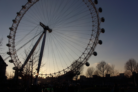 third eye: London Eye in Waterloo, London - February 15th of 2015: This is the third largest ferris wheel all around the world. This tourist attraction is 135 meters tall with a diameter of 120 metres.