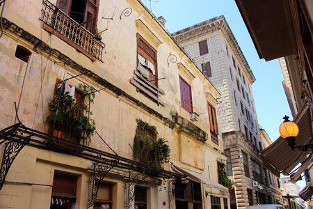 vieja: Crumbling streets and buildings in the middle of Habana Vieja neighborhood, La Havana, Cuba