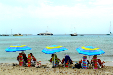 formentera: Bathers in Espalmador Island in Formentera, Balearic Islands, Spain.