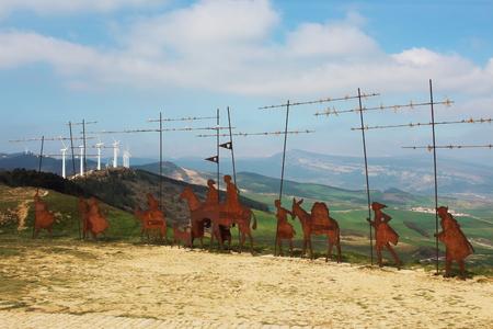 camino de santiago: Metal pilgrim statues in Puerto del Perdon mountain port, Camino de Santiago, Navarra, Spain.