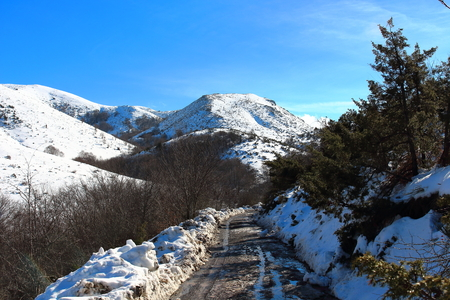 Amazing landscape on the way to Matagalls peak summit on a winter sunny day, Montseny mountains, Barcelona. Stock Photo