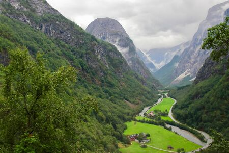Amazing and beautiful view on Naeroydalen valley and peaks on Stalheim, Voss, Hordaland, Norway.