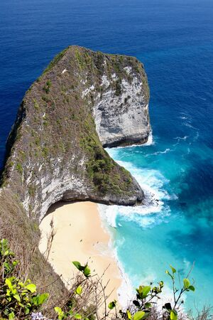 Main view of kelingking beach, on the most amazing spots in Nusa Penida Island, Bali. Stock Photo