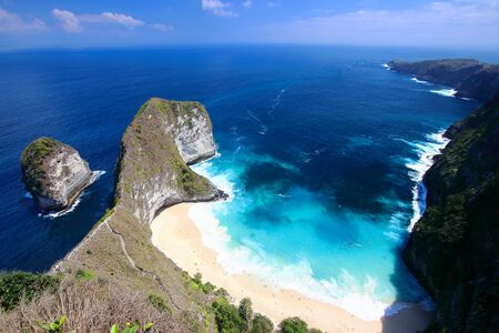 Main view of kelingking beach, on the most amazing spots in Nusa Penida Island, Bali. Reklamní fotografie