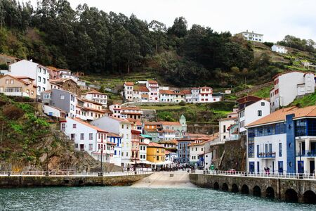 Cudillero, Spain - March 28, 2018: Main view of fishing village of Cudillero,  one of the most beautiful spots in Asturias region, Spain.