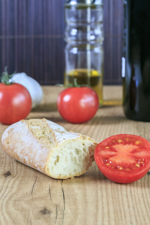 hoagie: Tipical catalonial breakfast with bread,tomato and oil Stock Photo