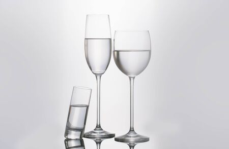 h2o: Isolated glass  and cup of water Stock Photo