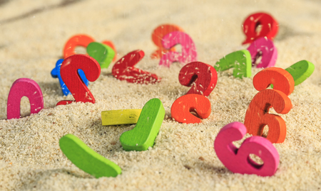 Colored number in the sand dunes