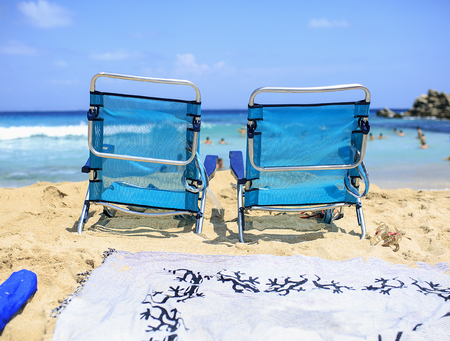 cana: Two chairs on the beach to relax Stock Photo