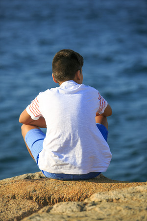 Young boy seeing the sea