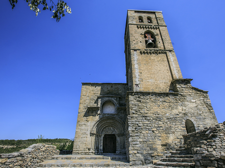 Stone church sited in a town of Spain, Montañana Stock Photo