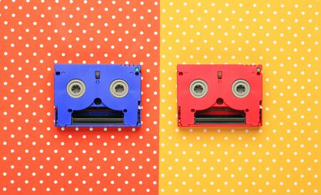 Super mm cassettes  with colorful topped background Stock Photo
