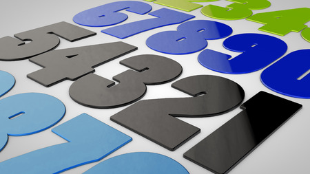 Numbers 3d in different colors Stock Photo