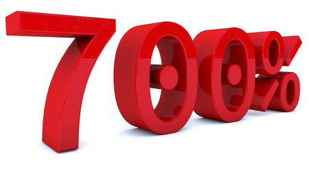 3D-rendering percentage nummer in rode kleur