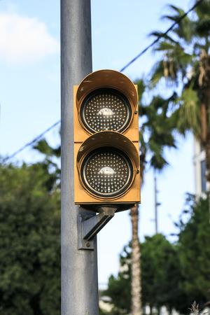 thoroughfare: traffic light in amber Stock Photo