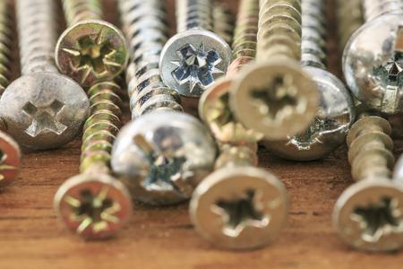Group of screws macro photo Stock Photo