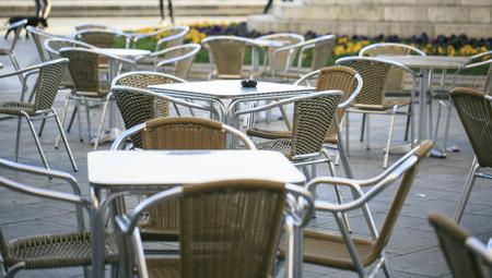 outdoor terrace in a mediterranean city Stock Photo