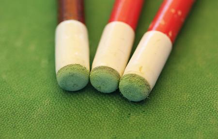 Close up billiard sticks