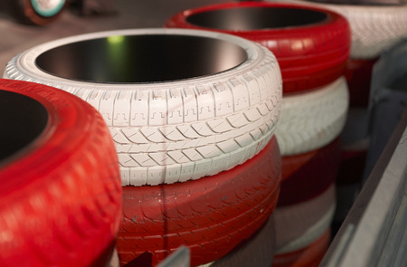 Red and white tires