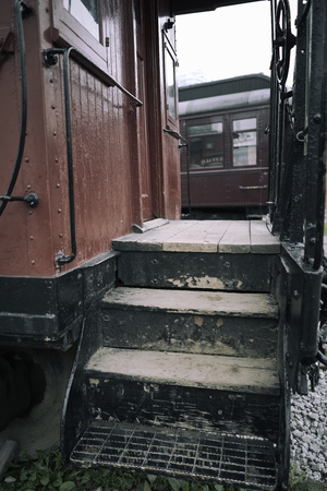 Old train stairs Stock Photo