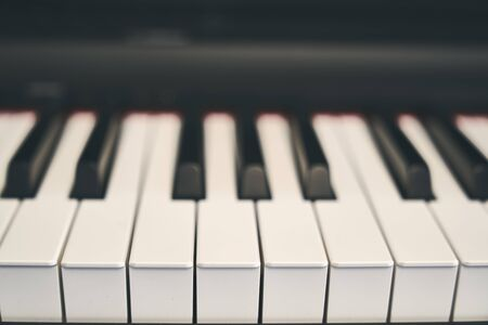 Piano keyboard close up