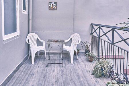 Terrace Furniture in Barcelona .Spain 스톡 콘텐츠
