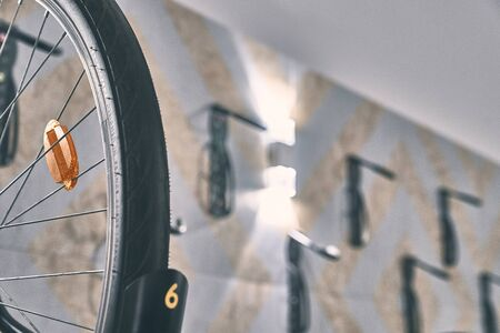 Office decorated with metal bicycle lamp