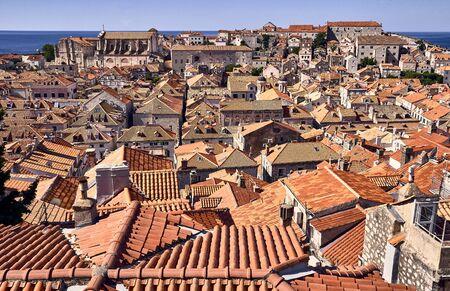 Panorama Dubrovnik Old Town roofs . Europe, Croatia