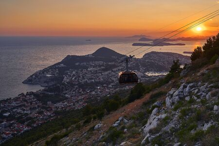 Funicular in Dubrovnik sunset . Croatia