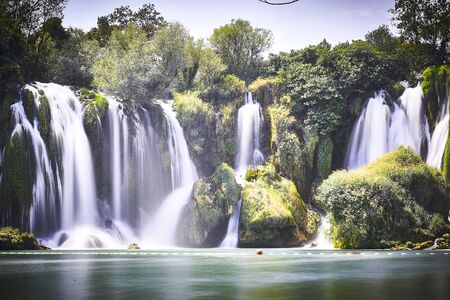 Long exposure shot in Krka waterfalls Banco de Imagens - 128589311