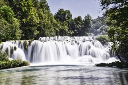 Long exposure shot in Krka waterfalls Banco de Imagens - 128589310