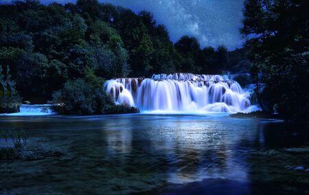Long exposure shot in Krka waterfalls