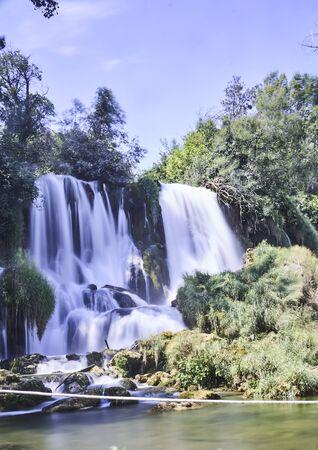 Long exposure shot in Krka waterfalls Banco de Imagens - 128595099