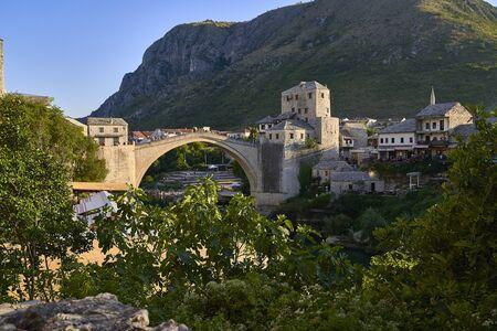 Mostar old bridge.Bosnia Herzegovina Imagens - 128595098