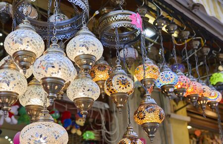 Muslim lights in a market Imagens