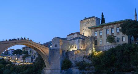 Mostar old bridge at night .Bosnia Herzegovina