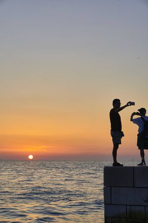 Silhouette in the Sunset of Zadar. Croatia. Europe