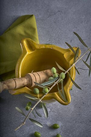 Yellow mortar to make a sauce called allioli, typical of Catalonia. Spain