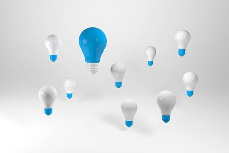 3D render Group of light bulbs. Having a great idea concept Banco de Imagens