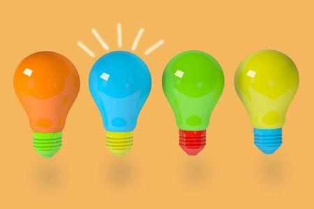 3D render Group of light bulbs. Having a great idea concept Stok Fotoğraf