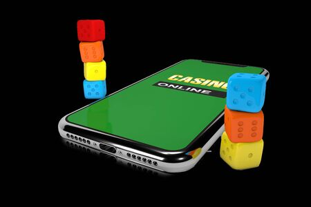 3d Illustration. Smartphone with dices. Online casino concept. Isolated black background.
